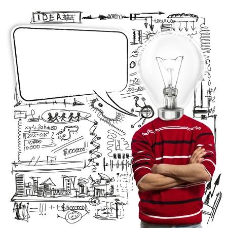 man in rood en lamp-hoofd met tekstballon, heb een idee