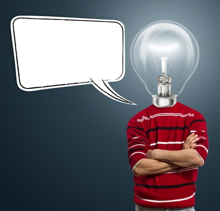 male in red and lamp-head with speech bubble, have got an idea Stock Photo - 10349559