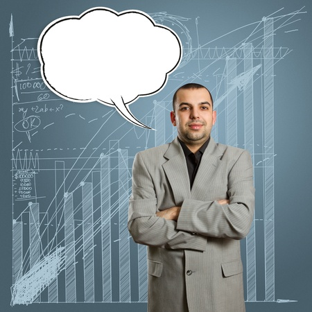 male in suit with crossed hands and speech bubble, looking on camera Stock Photo - 10349564