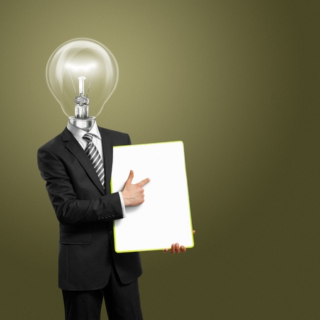 content writing: lamp head businessman holding empty write board in his hands