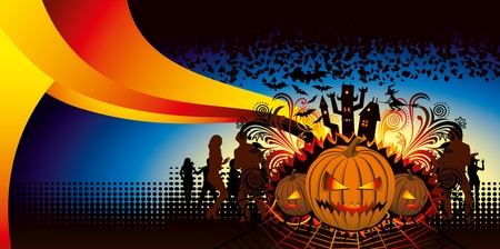 angry halloween pumpkin and dancing people silhouette Vector