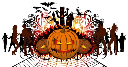 angry halloween pumpkin and dancing people silhouette Stock Vector - 10687737