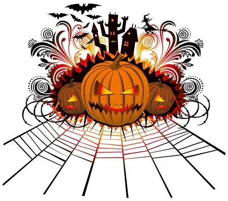 fright: angry halloween pumpkin with bats and witch