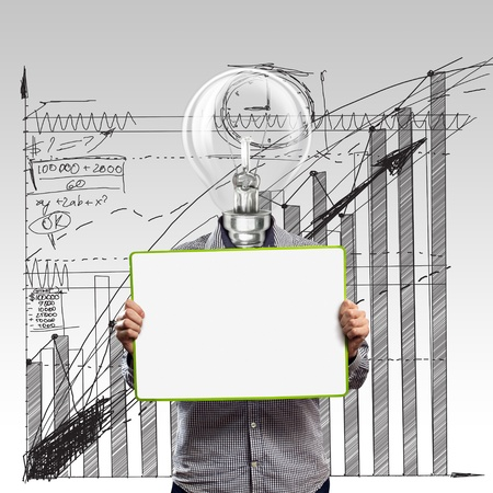 lamp head businessman holding empty write board in his hands Stock Photo - 10687749