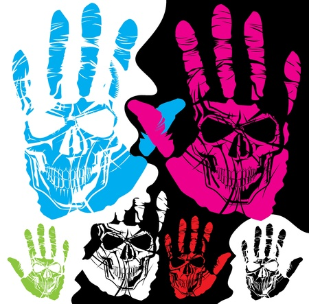 vector skull and hand of different color Vector