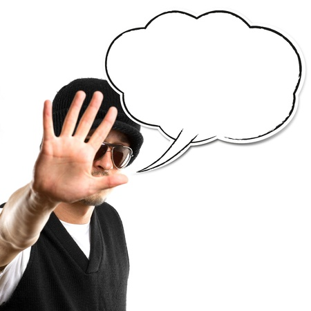 man in glasses looking at camera with speech bubble, against white background Stock Photo - 10762163