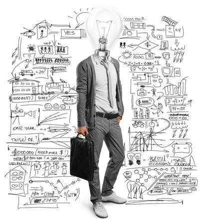 brain and thinking: lamp head businessman have got an idea Stock Photo