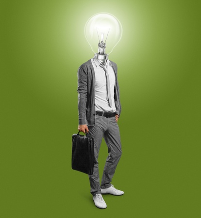 lamp head businessman have got an idea Stock Photo