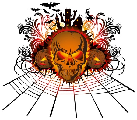 angry halloween skull with bats and witch Vector