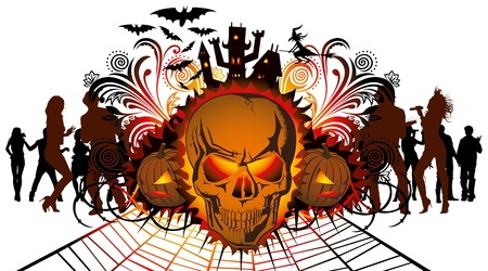 angry halloween skull and dancing people silhouette Vector