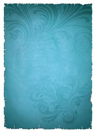 パターンと青い古い紙 写真素材