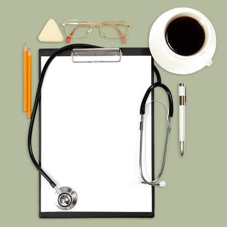 オフィス用品と抽象的な医療の背景