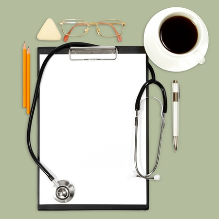 abstract medical background with office supply Stock Photo - 10913387