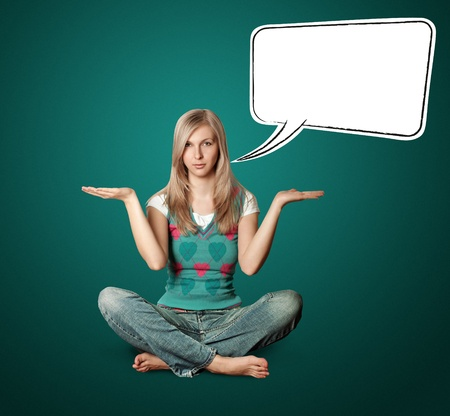 woman in lotus pose with open hands with speech bubble photo