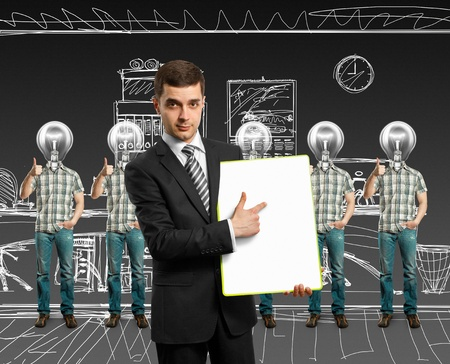 lamp head businesspeople with shows well done Stock Photo - 10913422