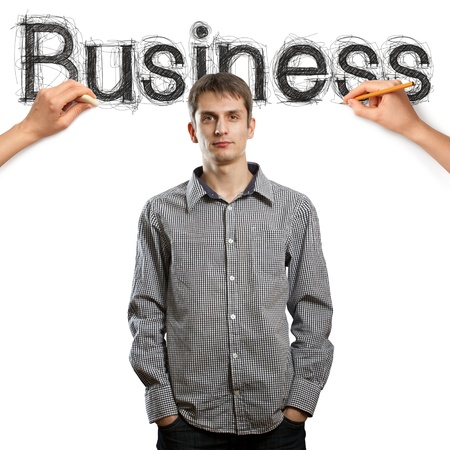 sketch word business with businessman and pensil photo