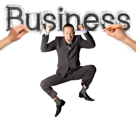 スケッチの単語とのビジネスに実業家 pensil