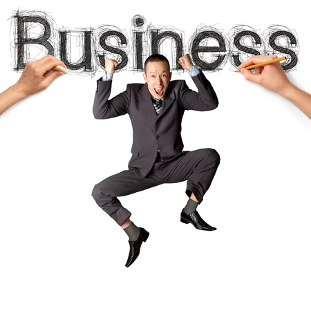sketch word business with businessman and pensil Stock Photo