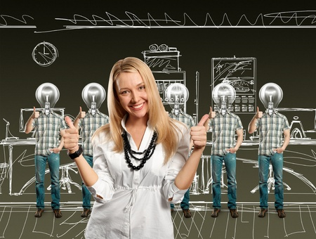 woman and lamp head businesspeople with red laptop in his hands Stock Photo - 10913404