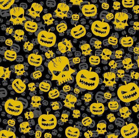 frightful: halloween abstract background with skull and pumpkin Illustration