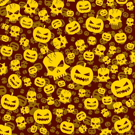 consept: halloween abstract background with skull and pumpkin Illustration