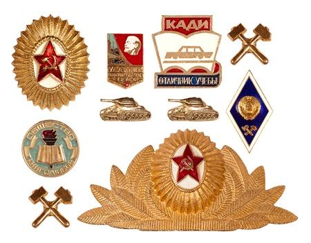 set of old soviet badges, isolated on white background Stock Photo - 11012233