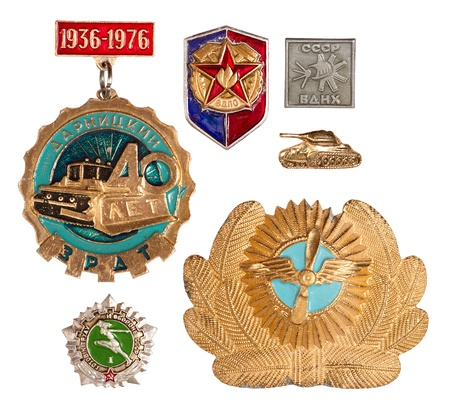set of old soviet badges, isolated on white background photo