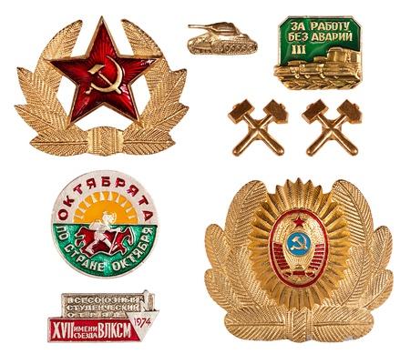 set of old soviet badges, isolated on white background photo