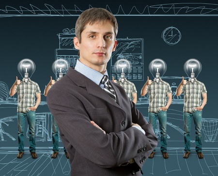 lamp head businesspeople with shows well done Stock Photo - 11012238