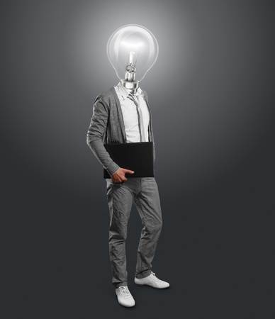 lamp head businessman with laptop in his hands