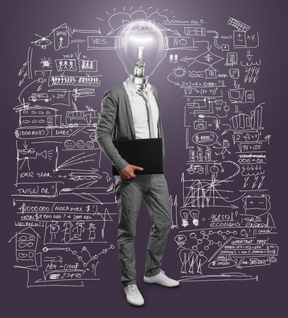 lamp head businessman with laptop in his hands photo