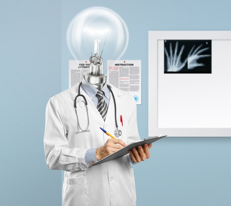 lamphead doctor writing something on clipboard photo