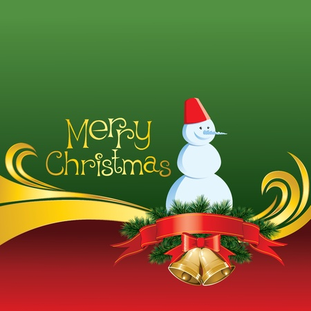2012 vector christmas card with jingle bells and snowman Stock Vector - 11152153