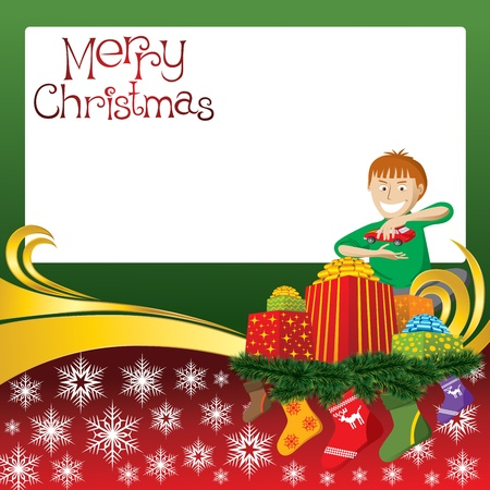 2012 vector christmas card with boy, gifts and socks Vector