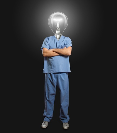 lamp-head doctor male with folded hands Stock Photo - 11152124