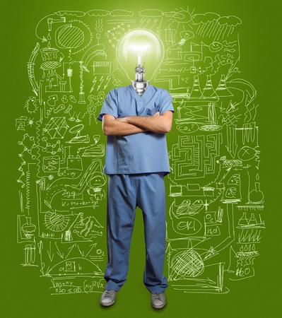 lamp-head doctor male with folded hands photo