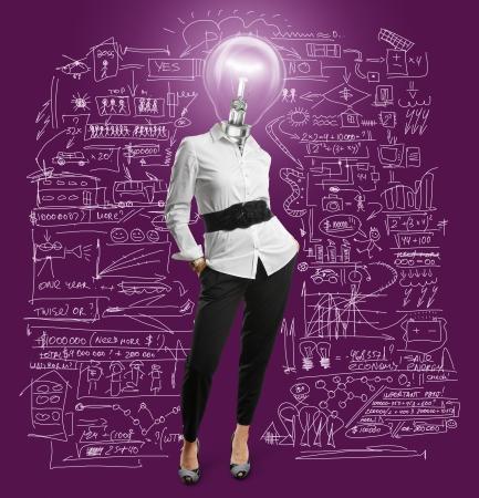 lamp head businesswoman have got an idea 版權商用圖片