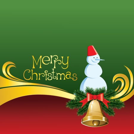 2012 vector christmas card with jingle bells and snowman Vector