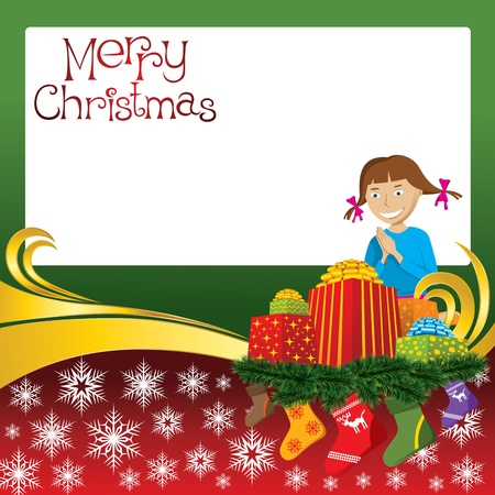 2012 vector christmas card with girl, gifts and socks Vector