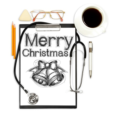 abstract medical background with xmas and office supply photo
