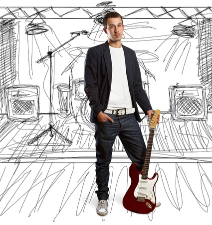 stylish man with guitar looking at camera against different backgrounds photo