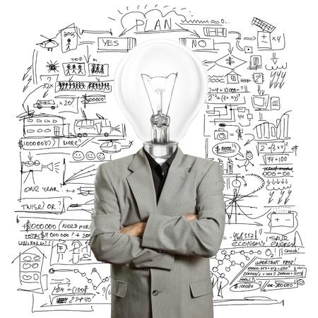 ランプ ヘッド ビジネスマンはアイデアを持っています。