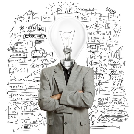 lamp head businessman have got an idea 版權商用圖片