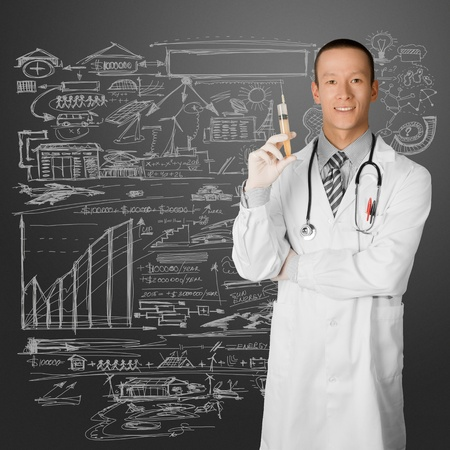 young doctor man with stethoscope against different backgrounds photo