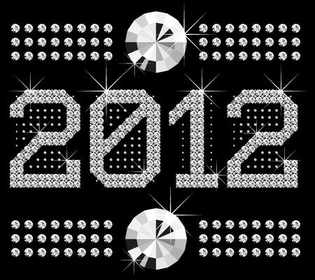 vector diamond numbers 2012, means Happy New Year Vector