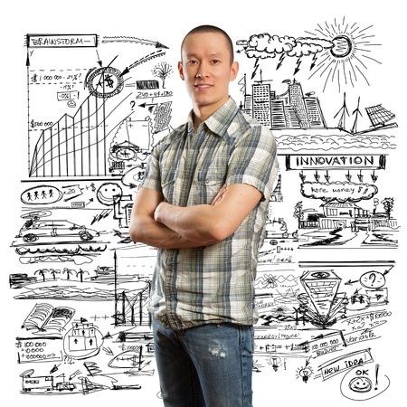 asian man looking at camera against business sketch Stock Photo - 11394130
