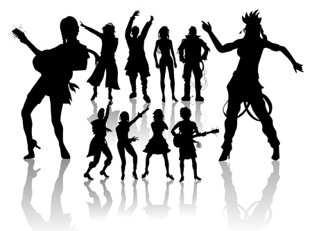 Vector silhouettes handmade, dancing and singing Stock Vector - 11835504
