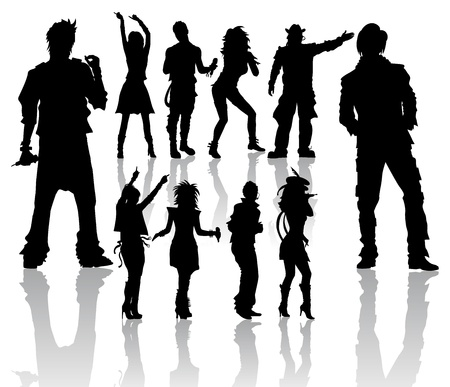 Vector silhouettes handmade, dancing and singing Vector