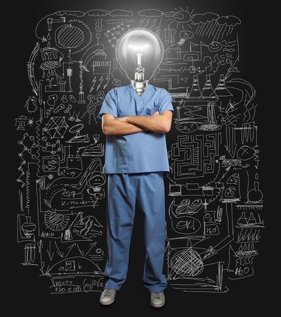 lamp-head doctor male with folded hands Stock Photo - 11977976