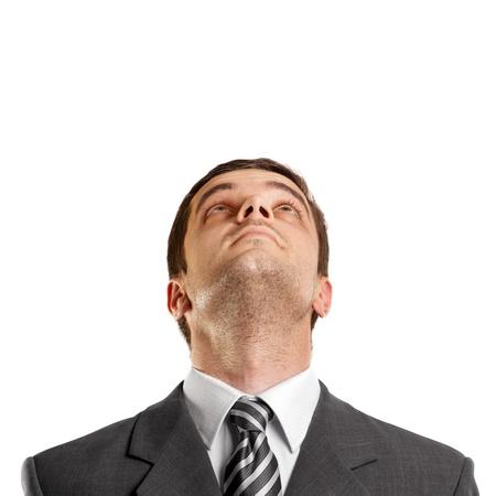 スーツとネクタイで上向きに、探している実業家と考え概念